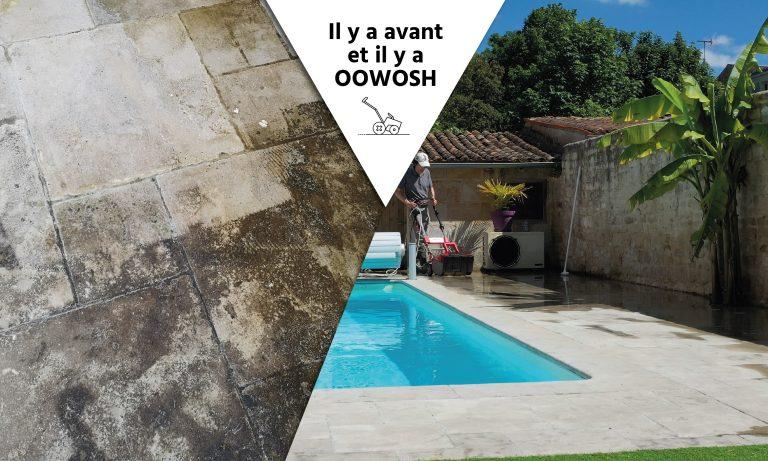 Terrasse en pierre recouverte d'algues et de mousses. Forte glissance.  Résultat : couleur de la pierre restaurée et sécurité à la marche.